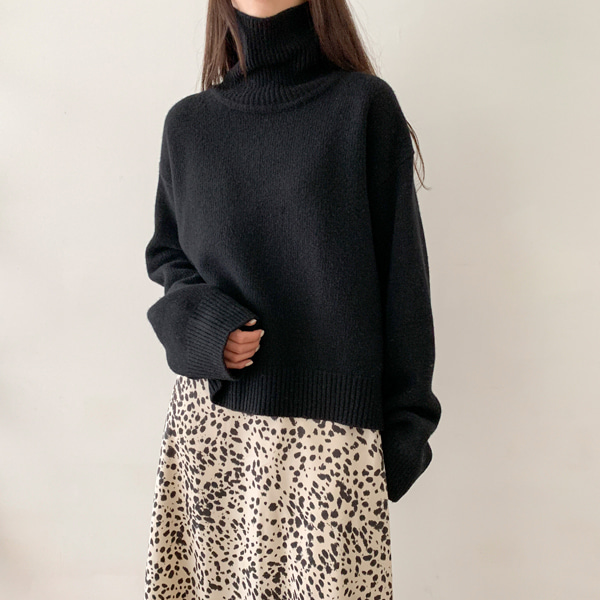 Funnel Neck Knit Top